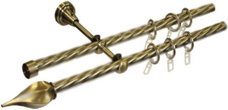 карниз для штор кованый твистер золото-антик
