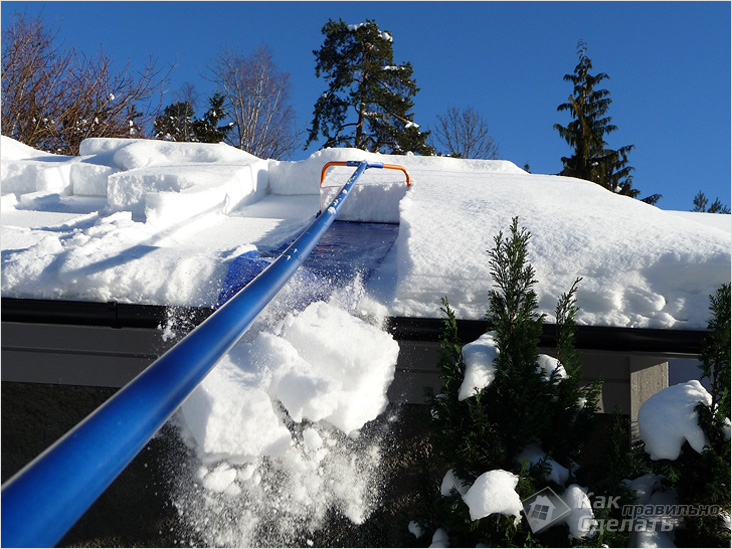 Очистка кровли от снега и наледи оквэд
